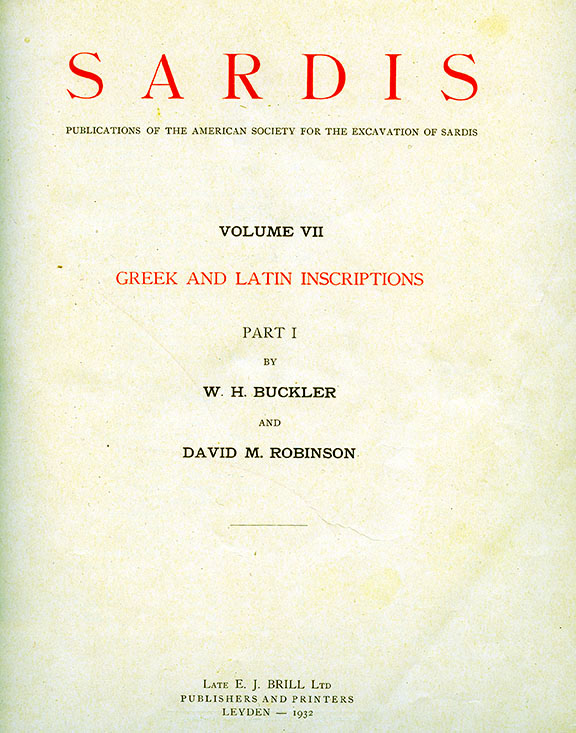 Sardis Volume VII: Greek and Latin Inscriptions, Part I